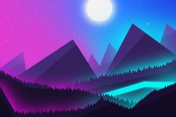 Wallpaper Mountains, Neon, Landscape, The Night Sky, View