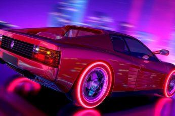 Wallpaper Music, Neon, Background, Ferrari, Electronic