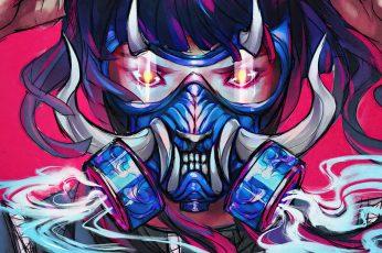 Wallpaper Oni Mask, Anime Girls, Smoke, Pink, Artwork