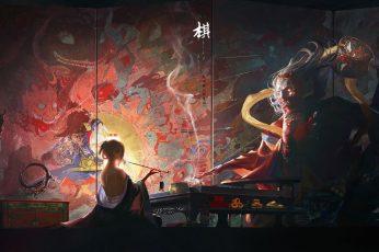 Wallpaper Painting, Smoking, Smoke, Samurai, Sword, Arrows