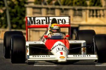 Wallpaper Red And White Marlboro Go Kart, Ayrton Senna