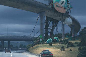 Wallpaper Sonic On Bridge Painting, Simon Stålenhag