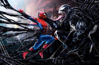 Wallpaper Spiderman, Venom, Hd, Digital Art, Artwork