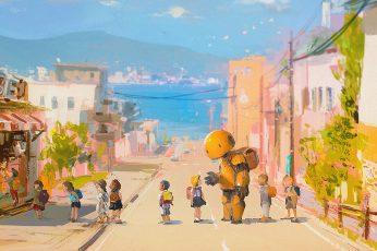 Wallpaper Street, Robot, Beach, Sea, Children, Anime