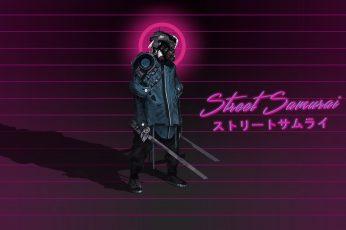 Wallpaper Street Samurai Poster, Cyberpunk, Neon, Typography