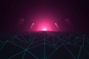 Wallpaper Synthesizer, Wireframe, Neon, 1980s, Cyberpunk