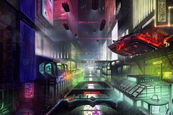 Wallpaper The City, Future, Neon, Machine, Fiction, Cyber