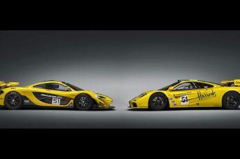 Wallpaper Two Yellow Sports Cars, Mclaren P1 Gtr, Mclaren