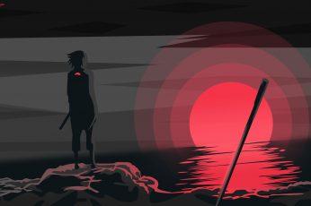 Wallpaper Uchiha Sasuke, Naruto Anime, Sunset, Sword