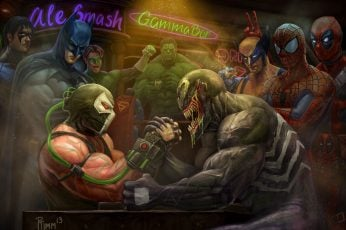 Venom And Bane Arm Wrestling Digital Wallpaper