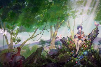 Wallpaper Venti Genshin Impact, Bard, Fantasy Art, Anime