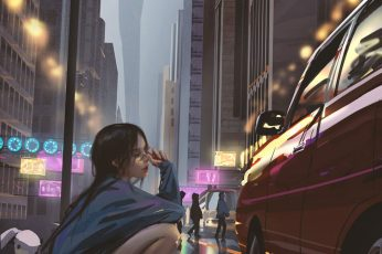Wallpaper Vertical, Anime, Anime Girls, Wlop, Car, City