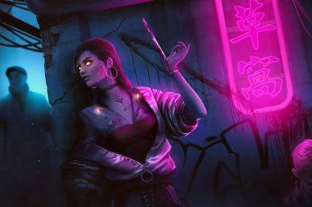 Wallpaper Women, Neon Lights, Dark, Assassins, Cyberpunk