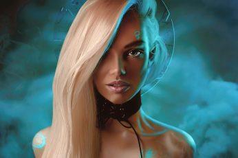 Wallpaper Women, Portrait, People, Face, Long Hair, Neon