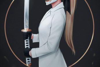 Wallpaper Yajuu, Sword, White Coat, Long Hair, Blond Hair