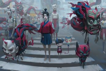 Wallpaper Zeen Chin, Artwork, Tokyo, Digital Art, Mask