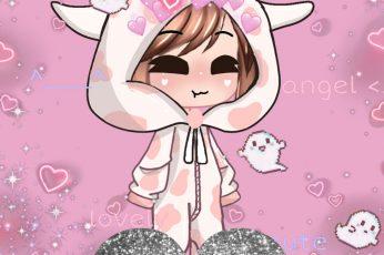 Wallpaper Cute Gacha Cow Girl, Aesthetic, Pink, Hd Mobile