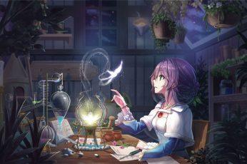 Wallpaper Anime Girl, Purple Hair, Room, Butterfly, Light