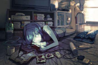 Wallpaper Anime Girls, Original Characters, Room, Blue Hair
