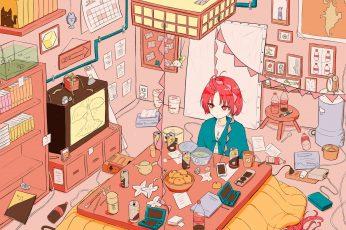 Wallpaper Anime Girls, Redhead, Red Eyes, Interior, Room