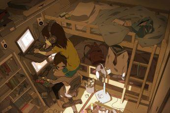 Wallpaper Anime Girls, Rooms, Bedrooms, Headphones