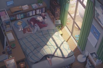 Wallpaper Anime, Original, Bed, Cat, Girl, Room