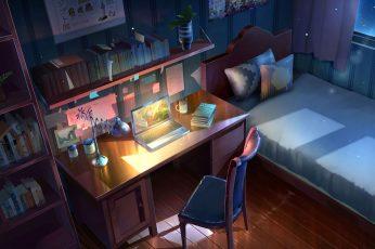 Wallpaper Anime, Original, Bed, Chair, Computer, Night