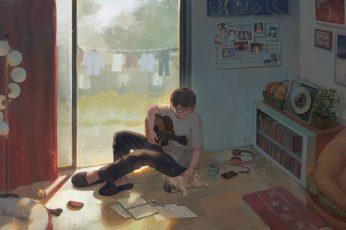 Wallpaper Anime, Original, Boy, Dog, Guitar, Room