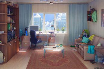 Wallpaper Anime, Original, Interior, Room, Sofa