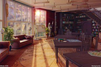 Wallpaper Anime, Original, Interior, Room, Sofa, Stairs
