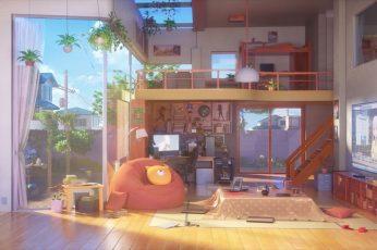 Wallpaper Anime, Original, Living Room