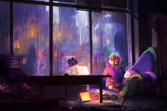 Wallpaper Anime, Room, Anime Girls, Sitting, Real People