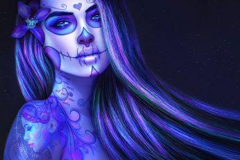 Wallpaper Artistic, Sugar Skull, Day Of The Dead, Purple