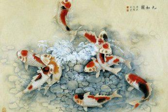 Wallpaper Asian Art11, Koi Fish Painting, Chinese, Japanese