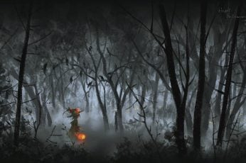 Bare Trees Wallpaper, Artwork, Fantasy Art, Halloween
