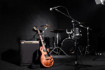 Wallpaper Black And Gray Drum Set, Light, Strings, Music
