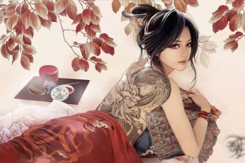 Wallpaper Black Haired Chinese Woman With Dragon Tattoo