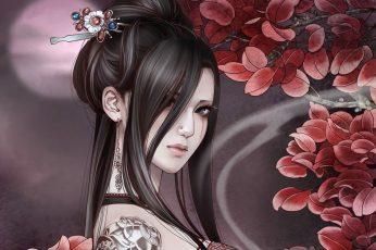 Wallpaper Black Haired Female Anime Character Illustration