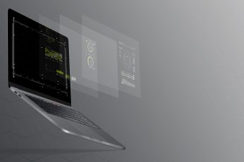 Wallpaper Black Laptop Computer Turned On With Grey Background