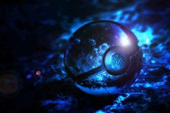 Blue Pokemon Pokeball Digital Wallpaper, Poké Ball
