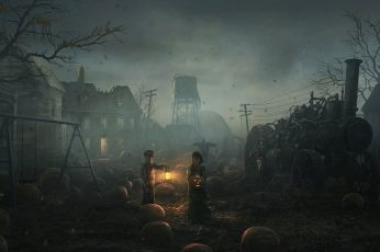 Wallpaper Boy And Girl In The Middle Ruins With Jack O
