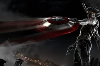 Wallpaper Bucky Barnes Holding Captain America Shield