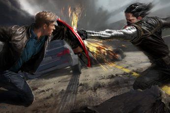 Captain America And Bucky Digital Wallpaper