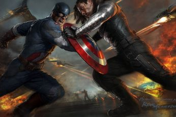 Wallpaper Captain America And Winter Soldier Illustration