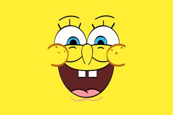 Wallpaper Cartoon, Spongebob, Yellow Background, Smiling