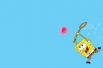 Wallpaper Cartoons, Spongebob, Cute, Lovely, Playing, Blue