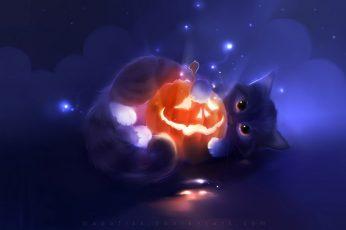 Wallpaper Cat And Jack O Lantern Illustration, Halloween