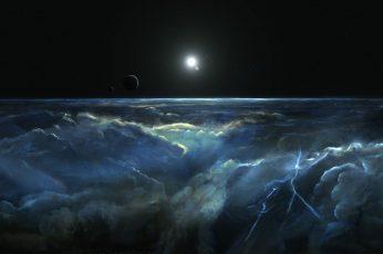 Wallpaper Clouds And And Lightning Illustration, Digital Art