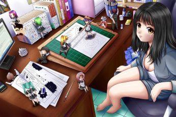 Wallpaper Computers Indoors Room Anime Girls Oekaki Musume