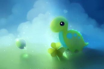 Wallpaper Cute Dino, Green Dinosaur Illustration, Artistic
